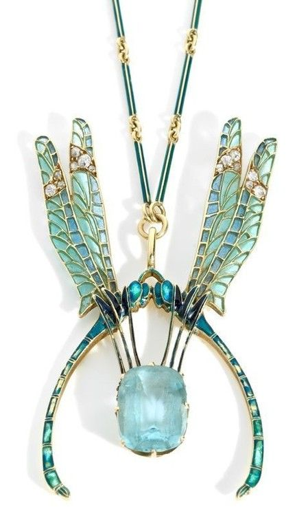 René Jules Lalique  Delicately enamelled Dragonfly wings and an Aquamarine. A necklace for a Fairy Queen