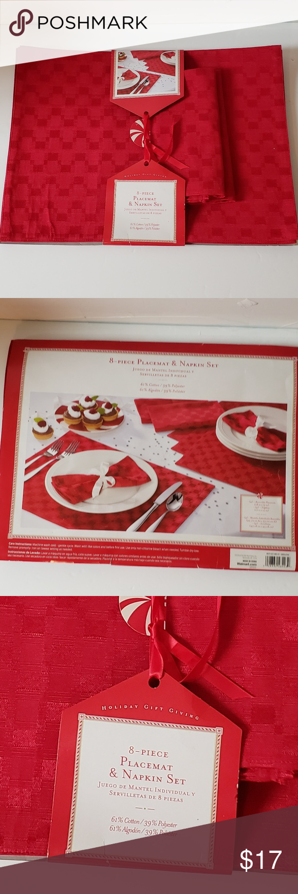 Christmas Jubilee Red Placemat Napkin Set New Napkins Set Placemats Christmas Packaging