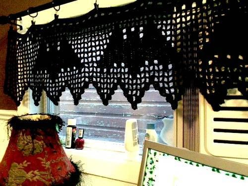 Bat Curtain Filet Crochet The Pattern Is Apparently From Bitch N