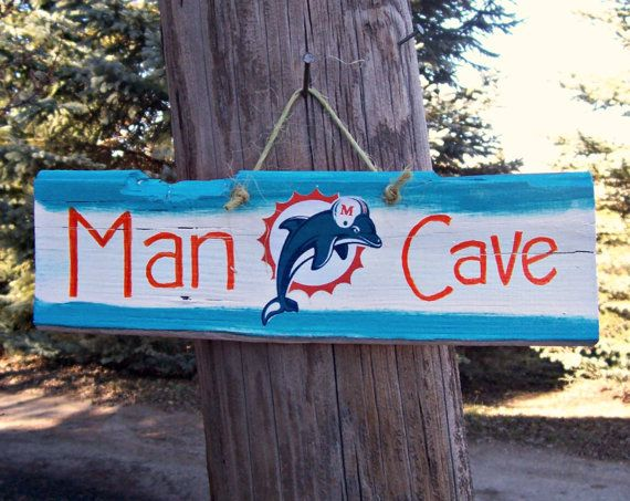 Personalized Nfl Man Cave Signs : Reclaimed dolphins man cave team logo nfl football by junkworksetc