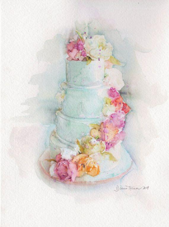 Wedding Cake Fine Art Print By Artbydianatoma On Etsy Wedding