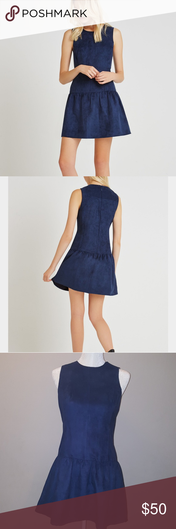 Bcbgeneration Faux-Suede Drop-Waist Dress Round neckline.Sleeveless.Dropped waistline.Hits above the knee.Concealed center back zipper with hook-and-eye closure.Self: Faux suede.Machine Wash.Imported. BCBGeneration Dresses Mini