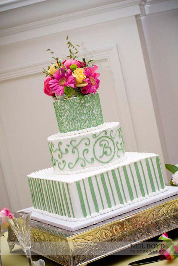 Green & white wedding cake. Raleigh weddings. Wedding ...