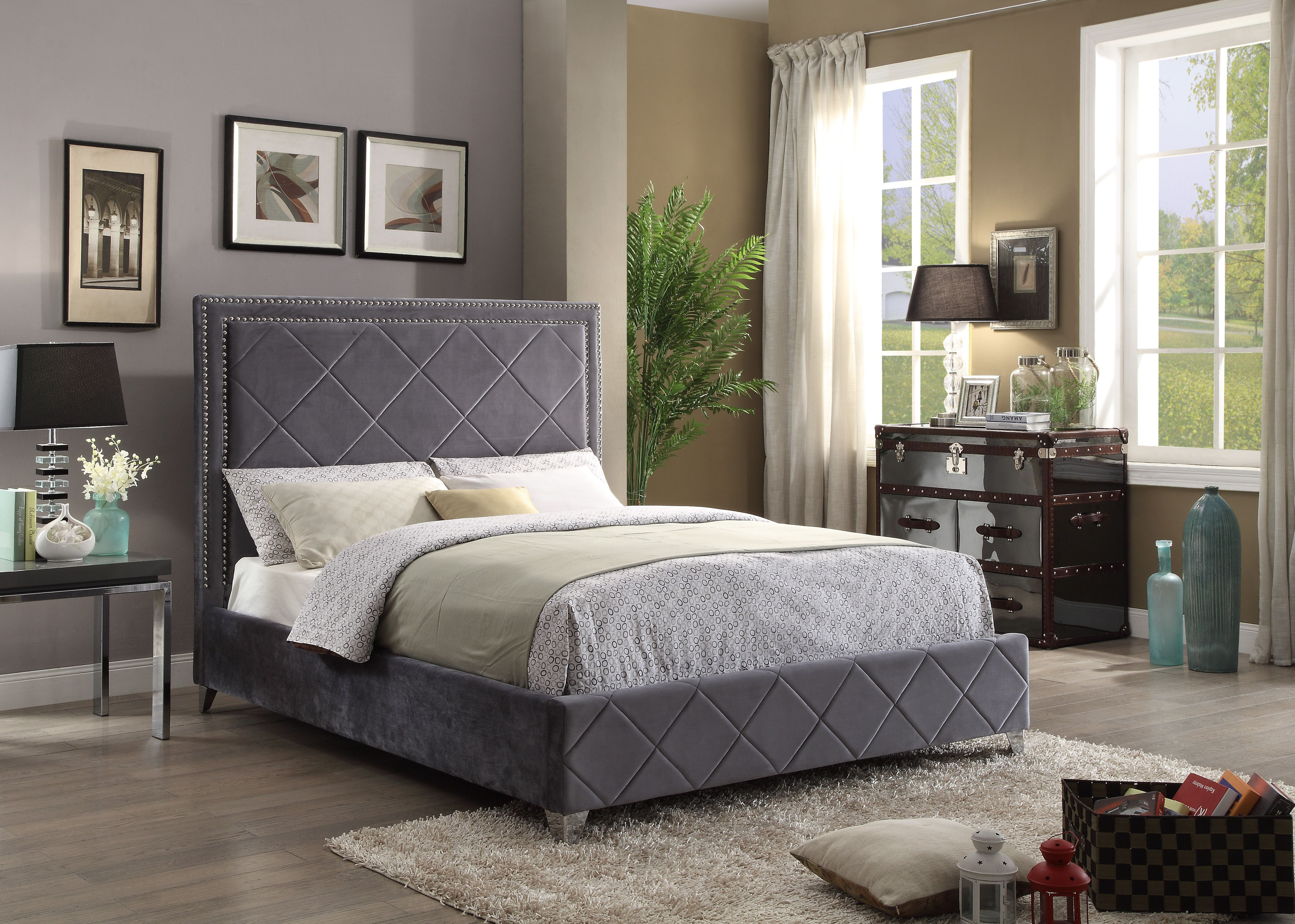 Velvet upholstered bed by Meridian Furniture on