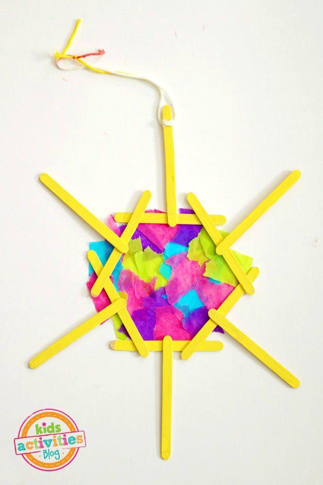 Popsicle Stick Mosaic Sun Craft Art Ideas Pinterest Crafts For