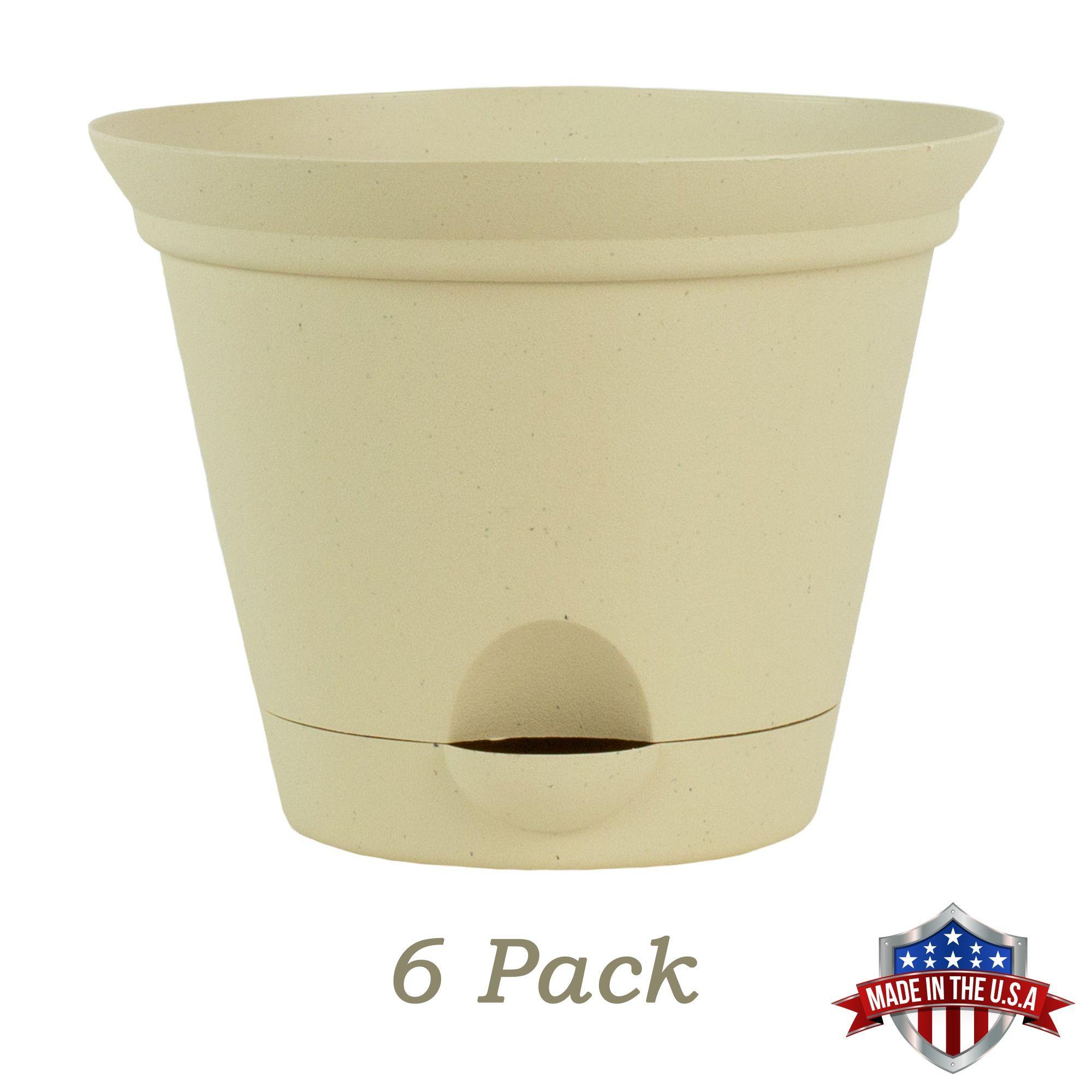 6 Pack 7 Inch Latte Quartz Plastic Self Watering Flare