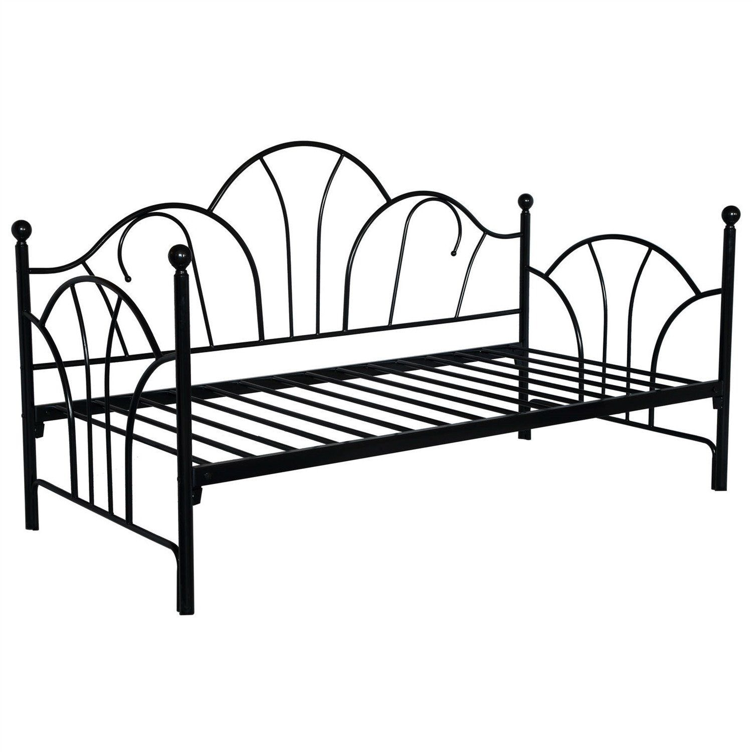 Size Contemporary Black Metal Day Bed Frame With Slats