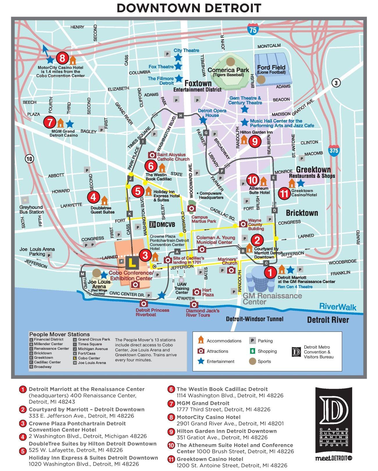 detroit renaissance center map Detroit Tourist Attractions Map Jpg 1 301 1 621 Pixels Detroit detroit renaissance center map