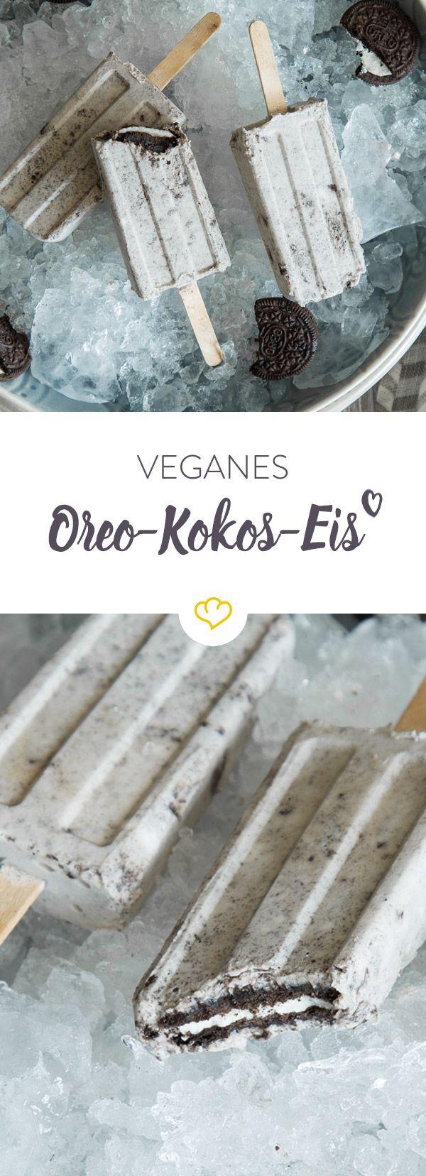 Veganes Oreo-Kokos-Eis am Stiel #bananadessertrecipes