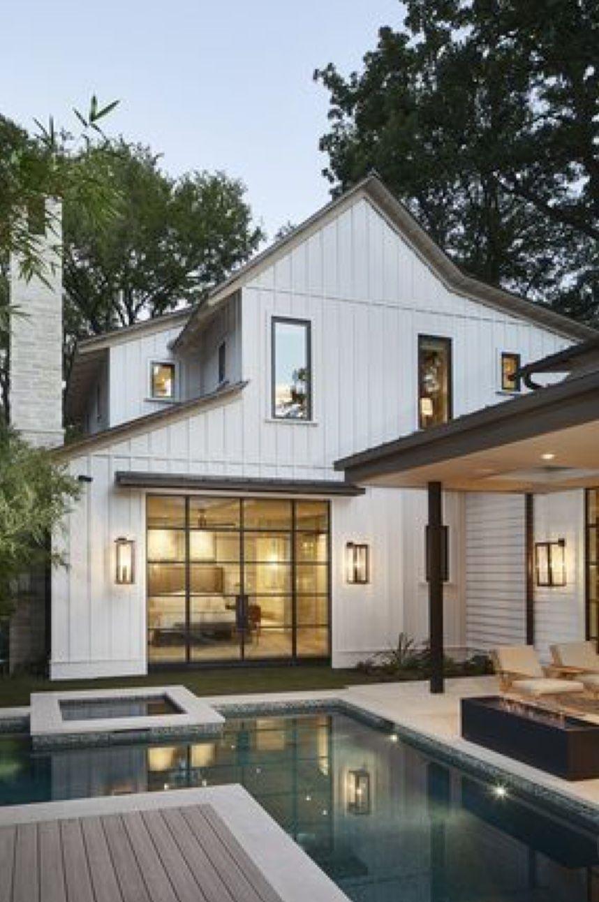Modern farmhouse with pool Mountain home exterior