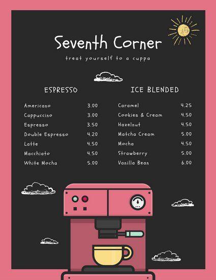 Pink And White Chalkboard Coffee Shop Menu Free Menu Templates Coffee Shop Design Coffee Shop Menu