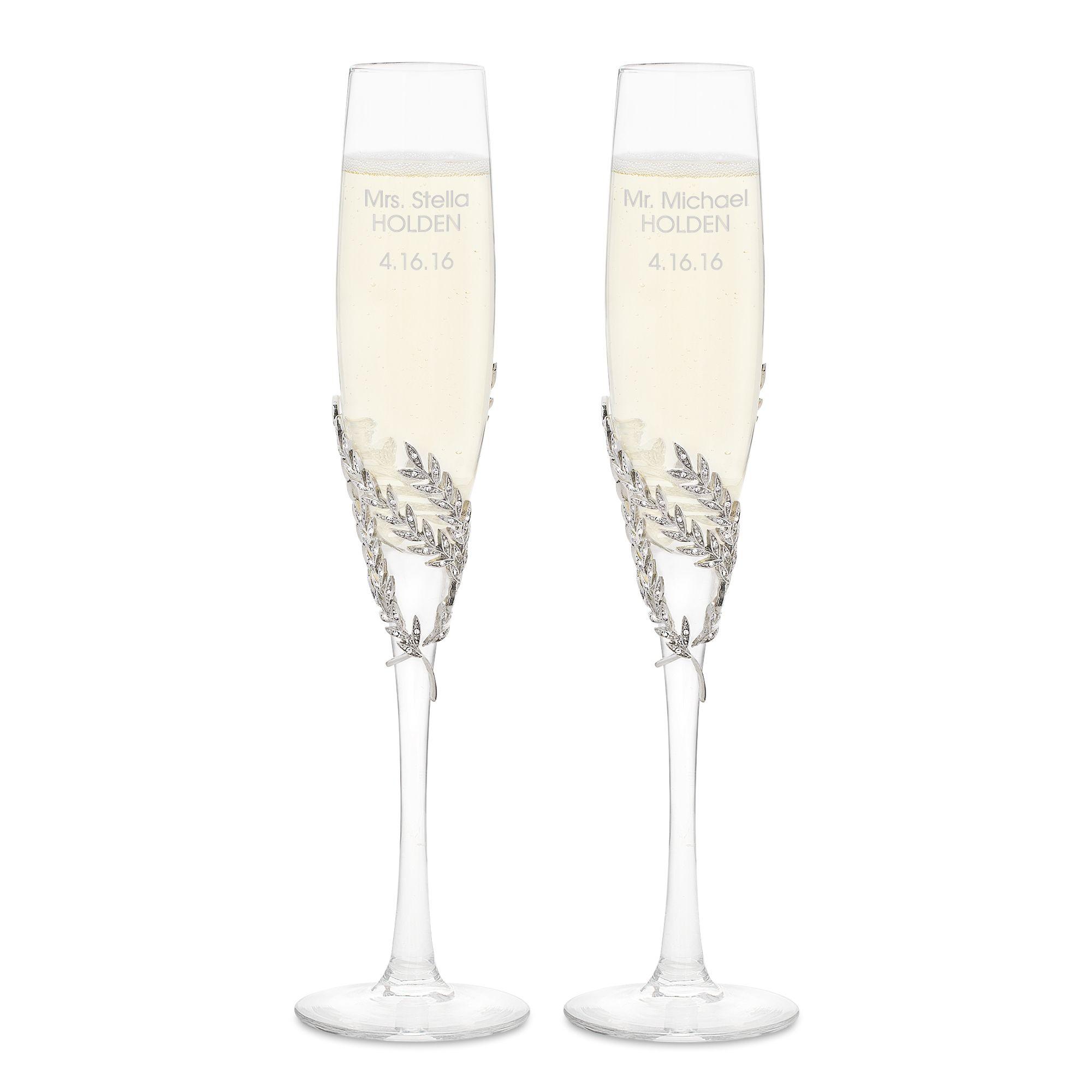Athena Pave Wedding Flutes Wedding Flutes Engraved Champagne Flutes Wedding Toasting Flutes Wedding