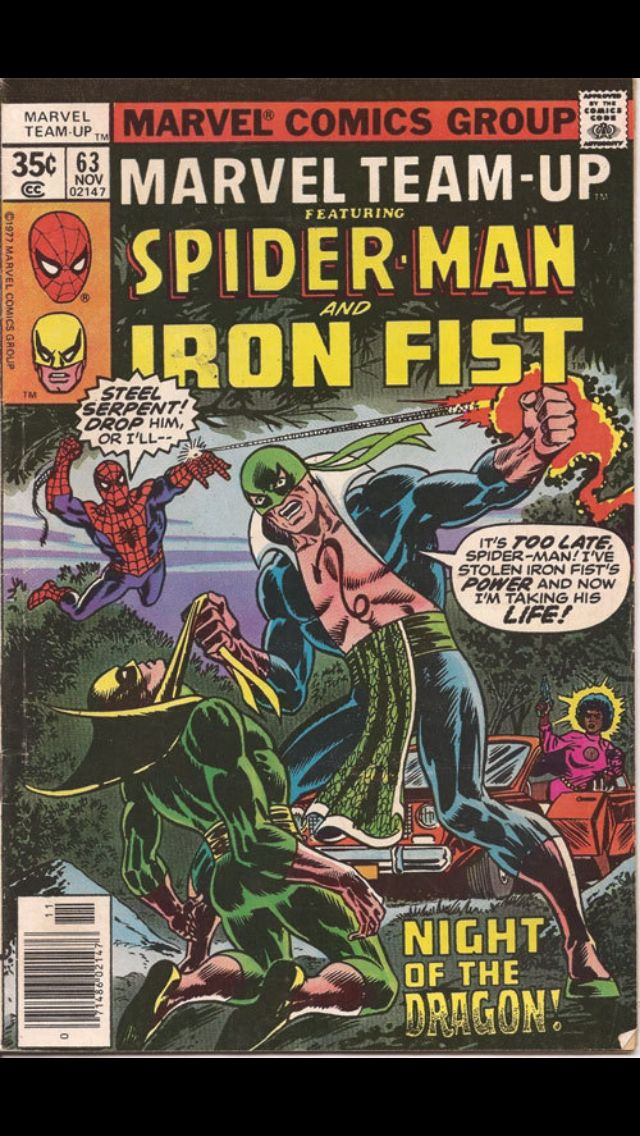 Marvel team-up # 63 November 1977 cover by Dave Cockrum and Frank Giacoia.  Iron Fist just looks totally whipped. And it's even WORSE INSIDE the comic!