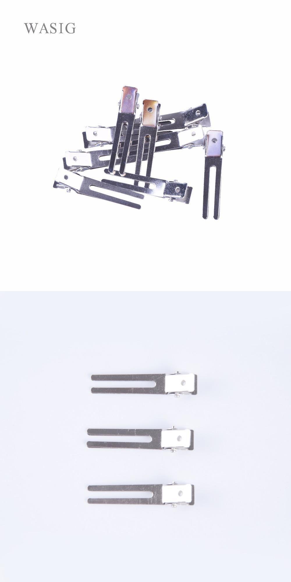 100pcs 45mm double prong alligator hair clips flat metal boutique