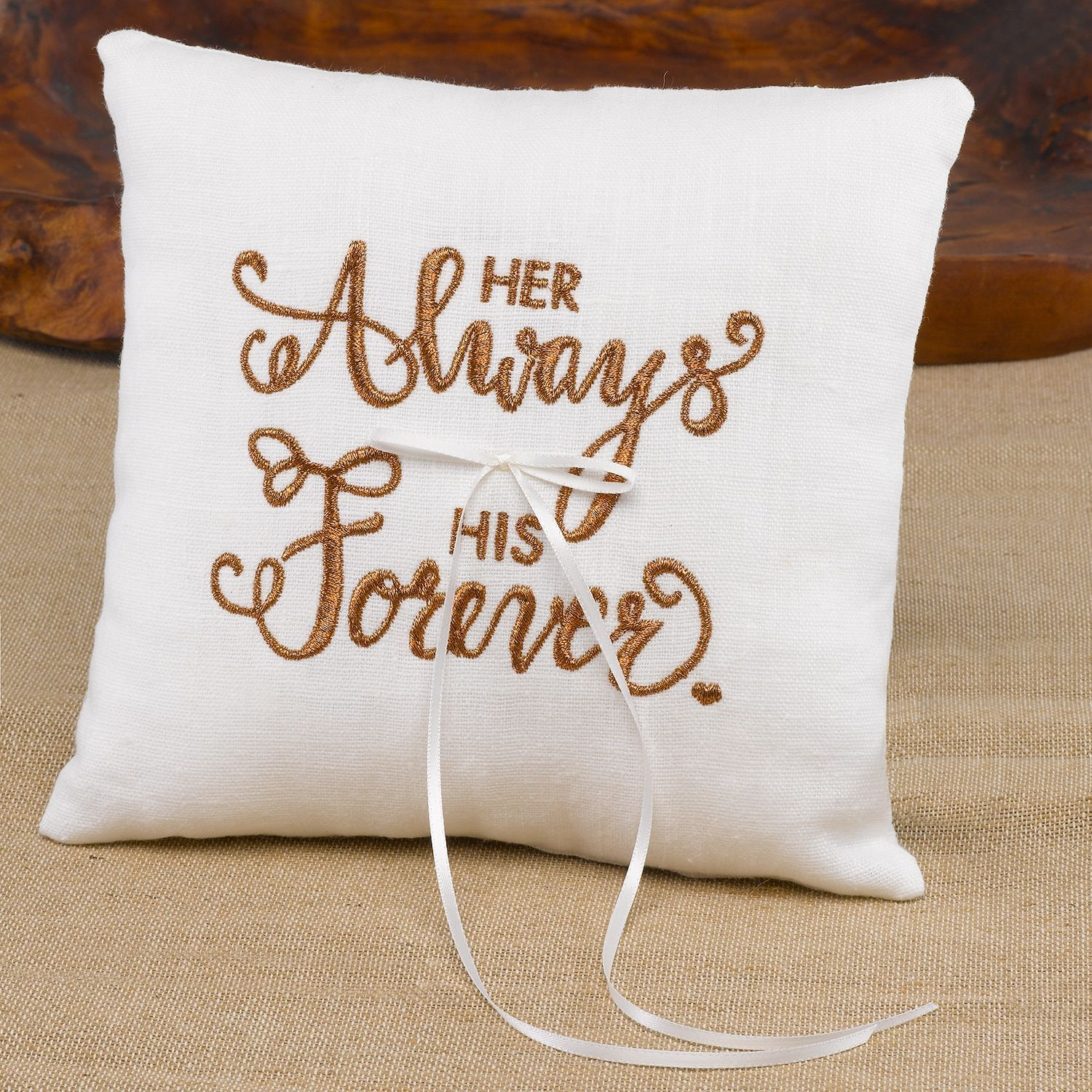 Always forever white linen and satin ribbon ring pillow ring