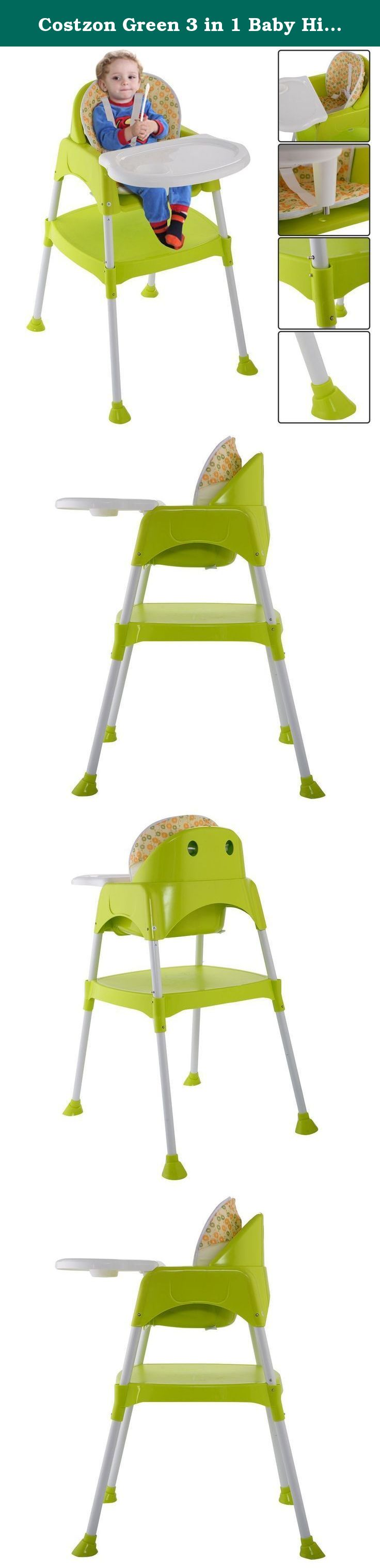 Costzon Green 3 In 1 Baby High Chair Convertible Table Seat Booster Toddler  Feeding Highchair.