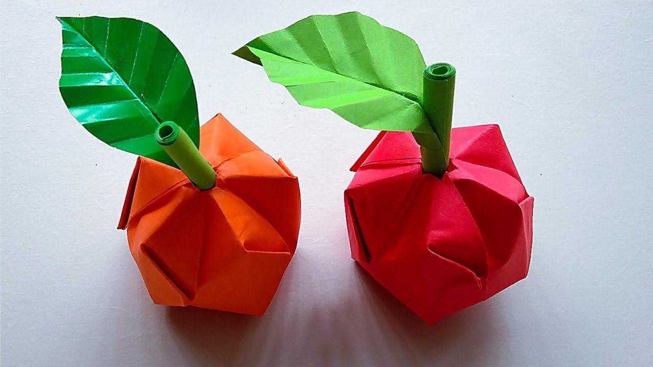 Origami Buah Apel Cara Membuat Buah Apel Dari Kertas Origami Di 2020 Origami Buah Apel