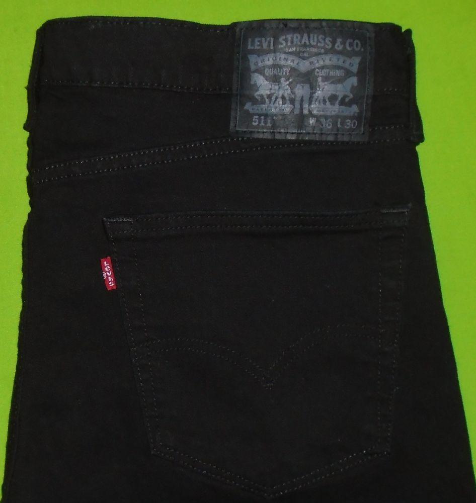 Levi's 511 Slim Fit Stretch Black Denim Jean Men size 36 x