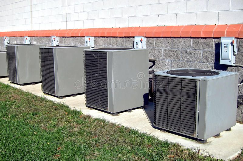 Commercial Air Conditioner Condenser Ac Units Row Row Of Commercial Hvac Air Co Affiliate Ac Units Row Cond Hvac Air Hvac Efficiency Heating Repair