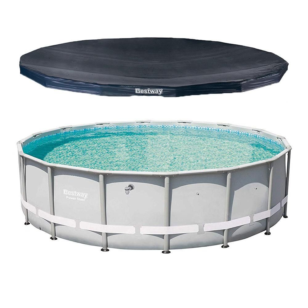 Bestway 16 Ft Round 48 In D Power Steel Hard Side Frame Pro Swimming Pool And Pvc Pool Cover 13429 Bw 58249e Bw The Home Depot Pool Cover Pvc Pool Swimming Pools