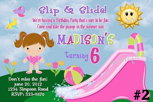Waterslide Birthday Invitations Water Slide Party Printable Boy Or Girls