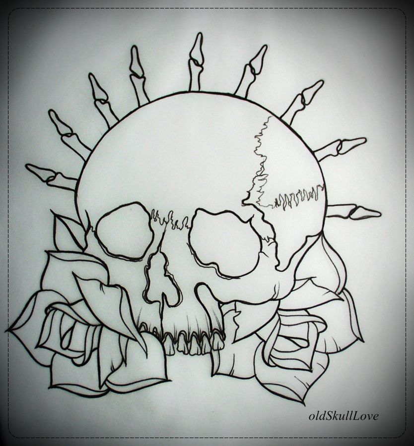 Skull Rose Tattoo Outline Designs