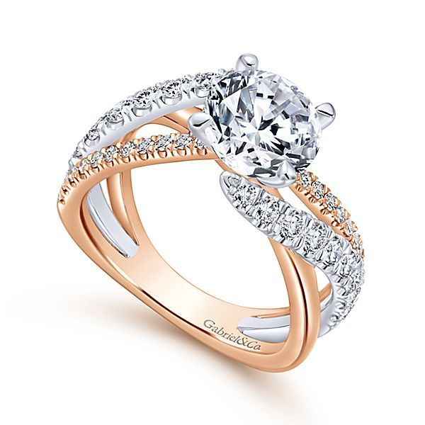 Zaira 14k White And Rose Gold Round Free Form Engagement Ring Angle 3 Engagement Rings Twisted Vintage Engagement Rings Sapphire Beautiful Engagement Rings
