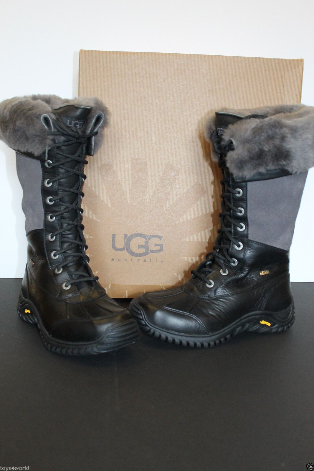 UGG ADIRONDACK TALL 1001786 BLACK GREY Boots Size US 6 / EU 37 / UK 4.5