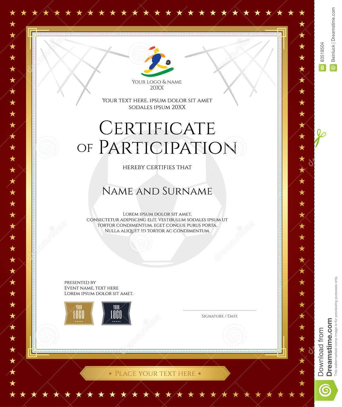 Sport Theme Certificate Of Participation Template Stock