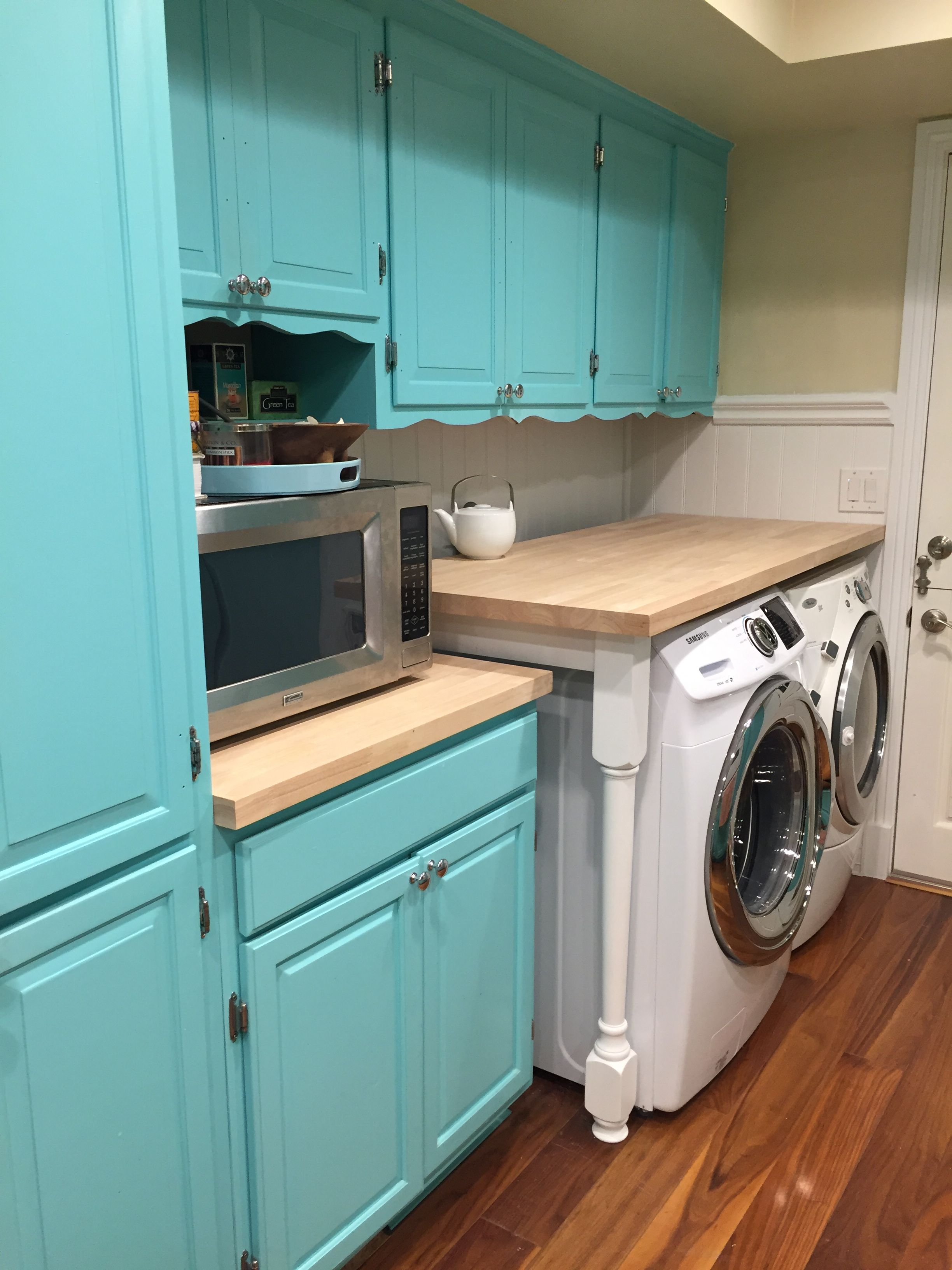 This Laundry Room Countertop Is Built Using Butcher Block And