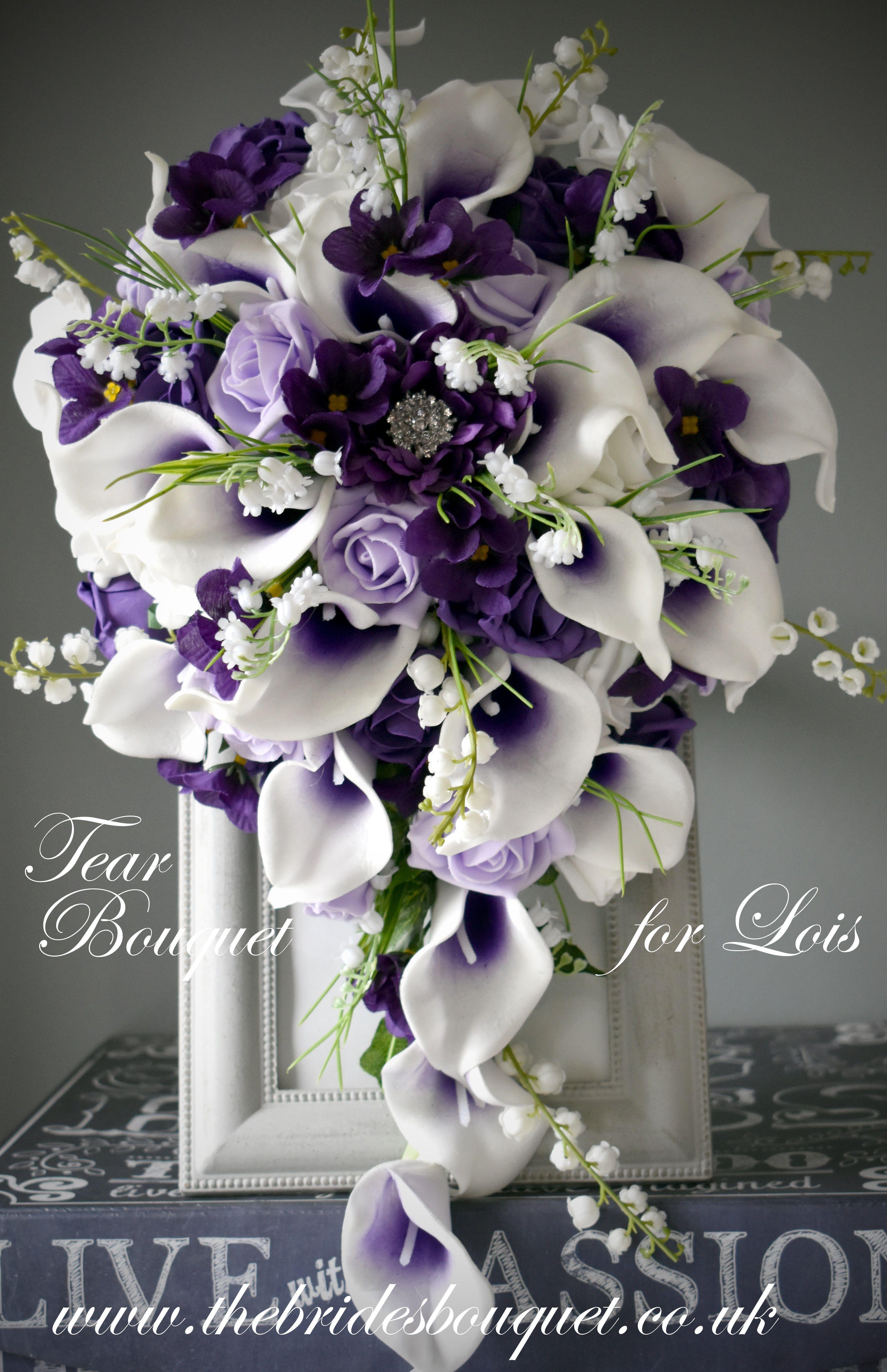 Purple Cascade Wedding Bouquet Featuring Purple Centred Picasso