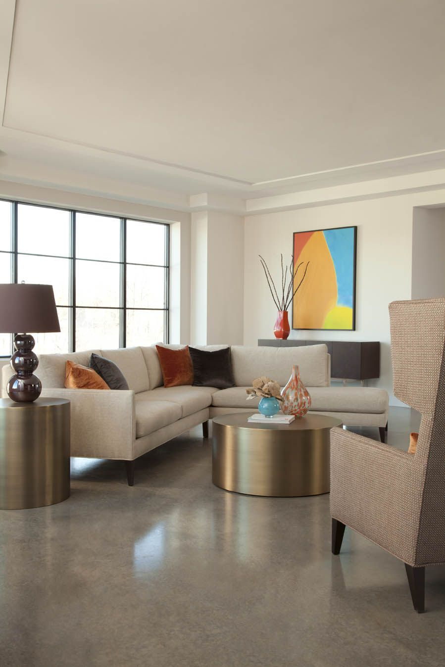 Decked Out sofa and lounge chair with Milo Baughman Drum table and ...