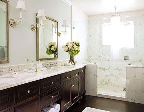 You Decide Shower Or Bath Wood Bathroom Cabinets Traditional Bathroom Marble Showers
