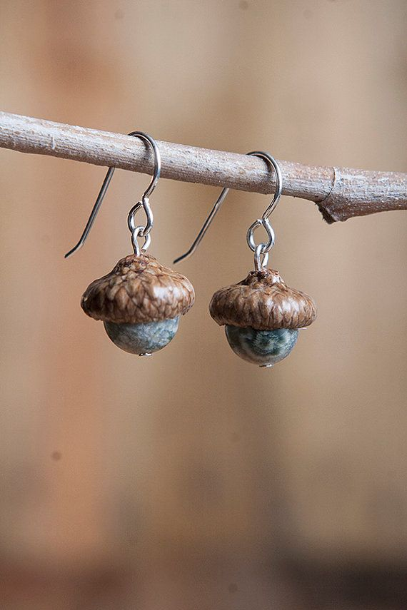 Real Acorn Earrings with Ocean Jasper and by NuttierThanASquirrel