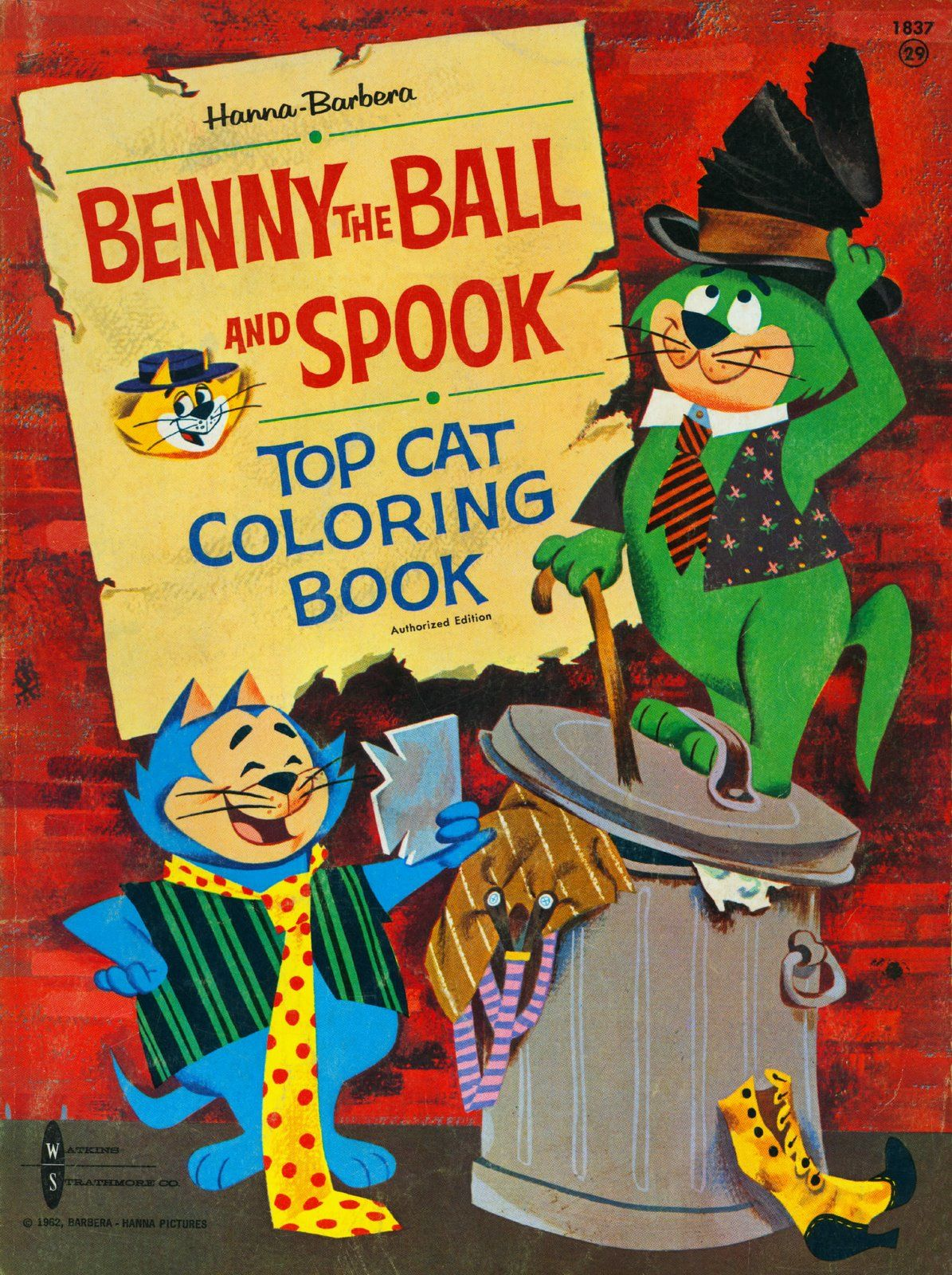 Benny The Ball And Spook Top Cat Coloring Book 1963 Mel Crawford
