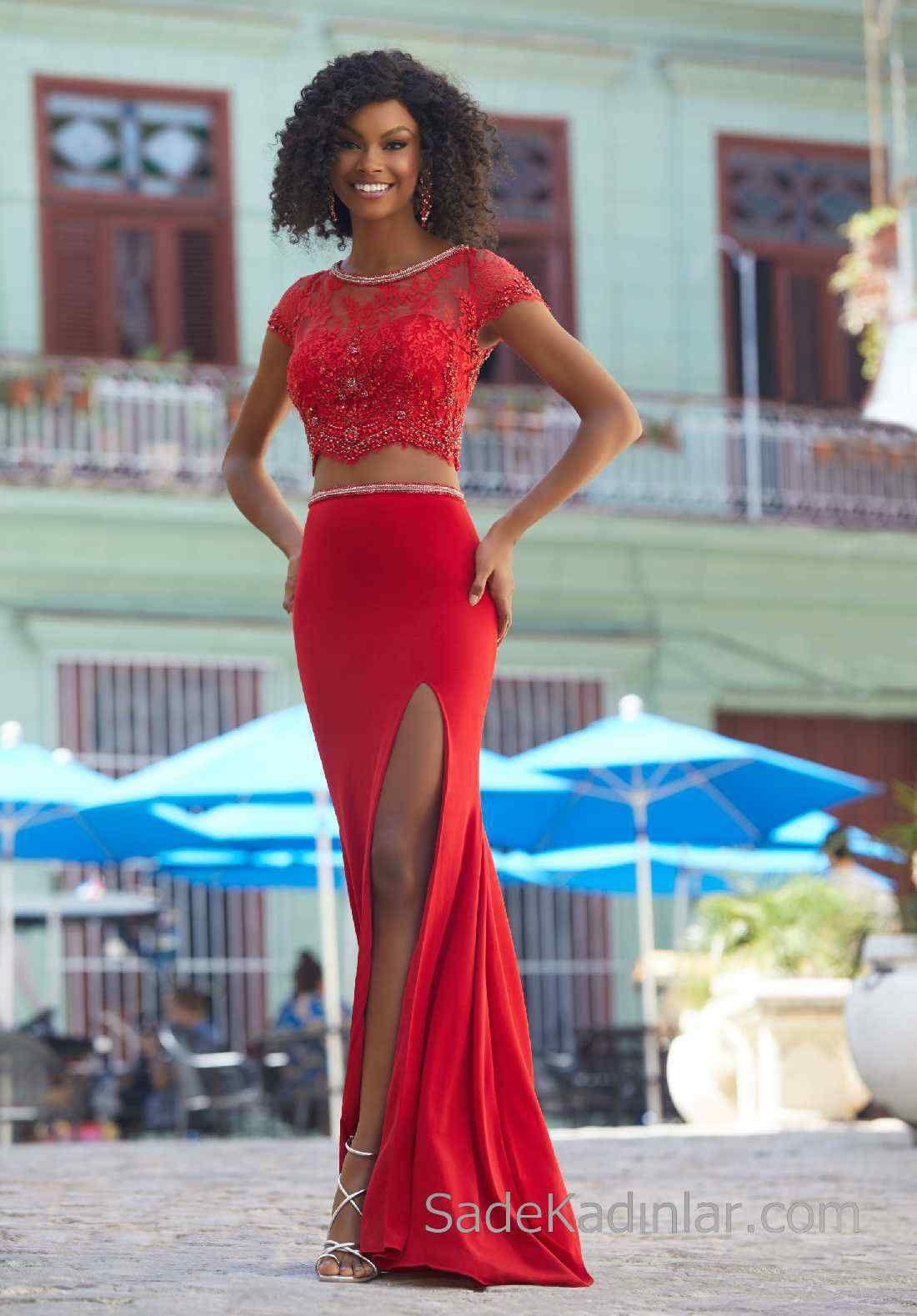 2020 Abiye Ve Gece Elbiseleri Sik Abiye Modelleri Kirmizi Uzun Iki Parca Derin Yirtmacli The Dress Balo Elbiseleri Mezunlar Gecesi Elbiseleri