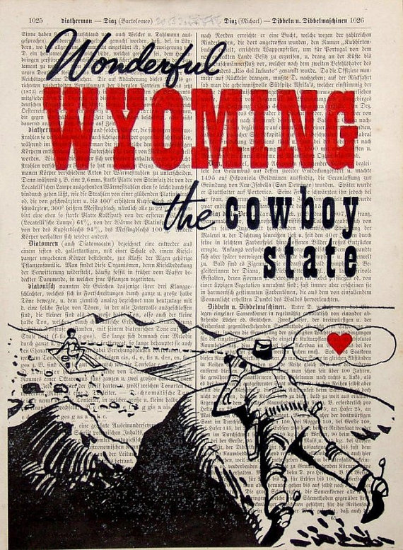 WYOMING print poster mixed media painting illustration by artretro, $12.00