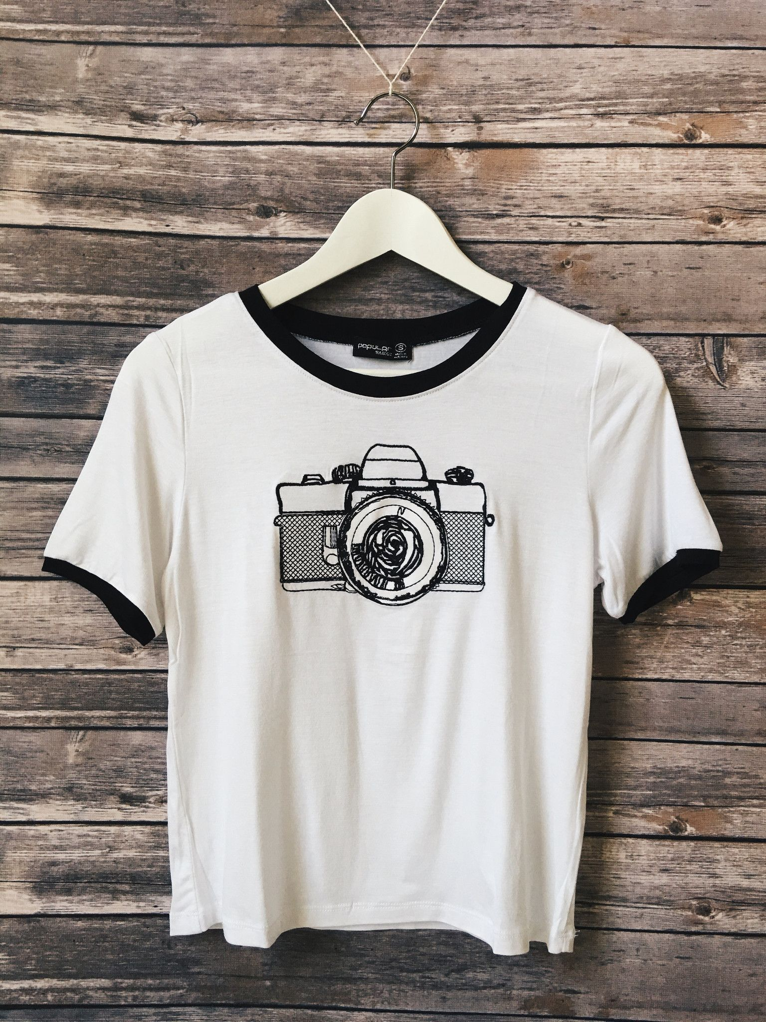 be6f5dda8 Camera Embroidered Ringer Tee | outfits <3 in 2019 | Fashion ...