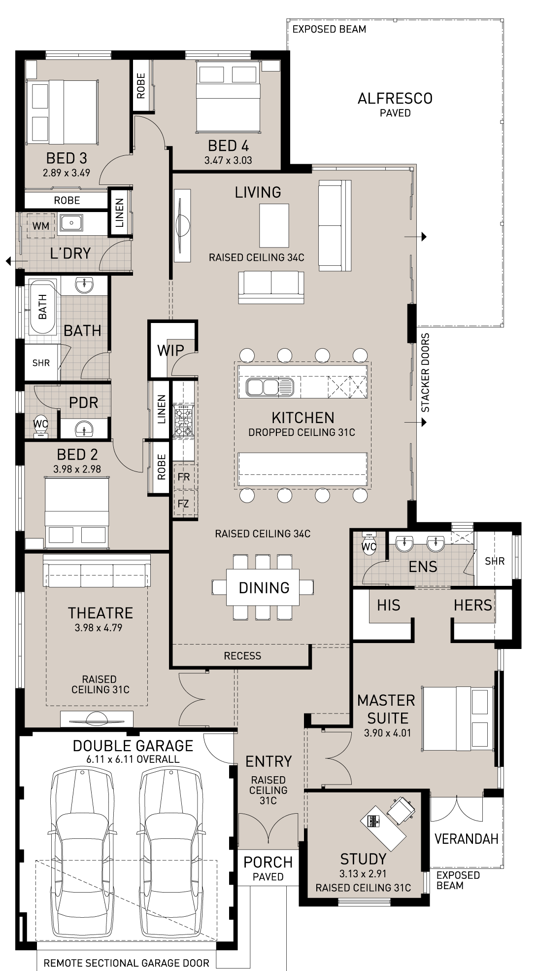 Master bedroom layout  Floor Plan Friday Double Island benches  Island bench Bench and Doors