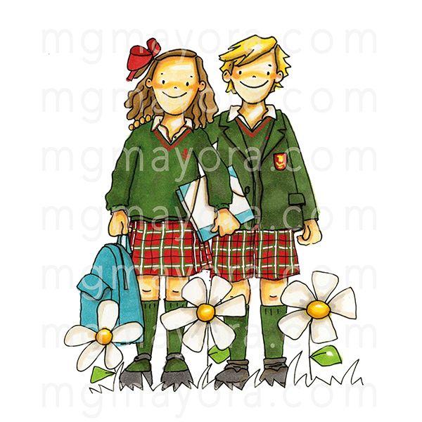Dibujo de dos ni os vestidos de uniforme m s dibujos - Dibujos infantiles originales ...