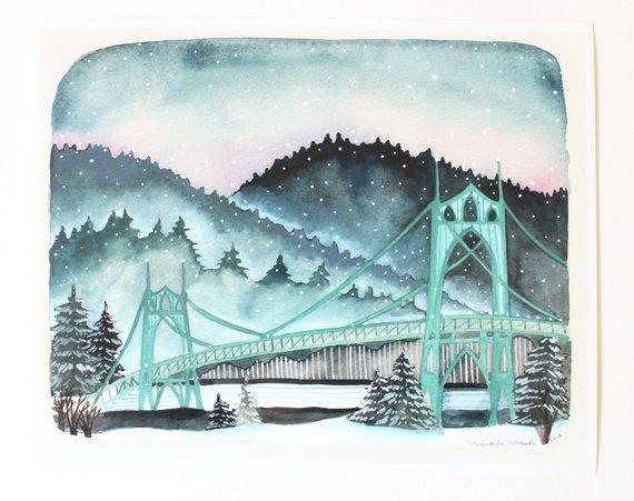 St Johns Bridge Portland Art Portland Oregon Illustration