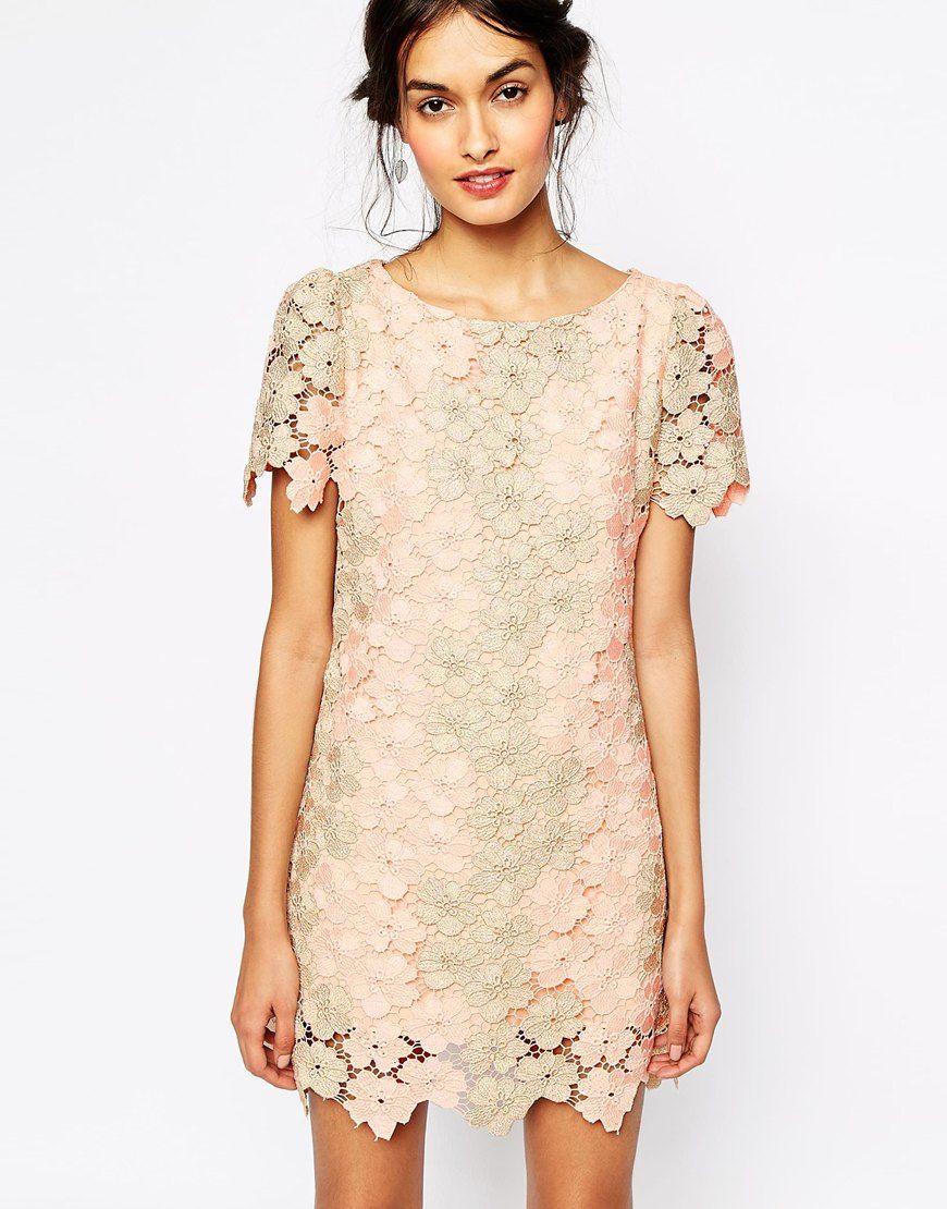 Image 1 Of Soma London Heavy Metallic Crochet Lace Shift Dress