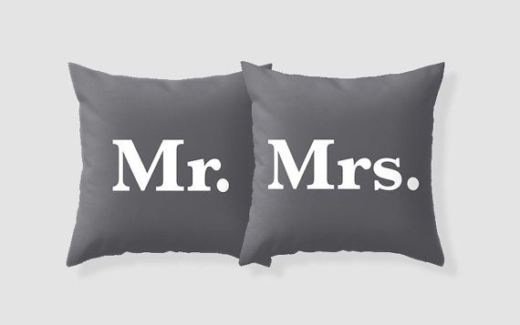 Mr. And Mrs. Pillow Cover Set / Dark Grey Pillows / by AldariHome