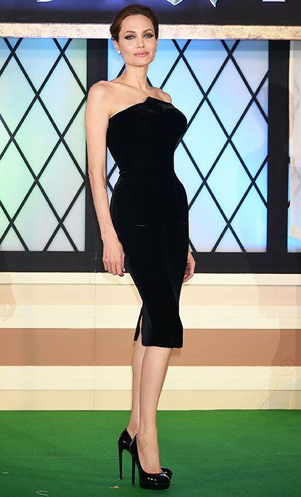 Angelina en traje de còctel 2014.