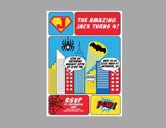 Superheros stile fumetto invito-Superheros di CrowningDetails