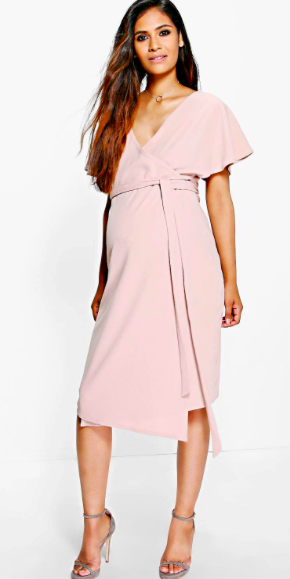 a9dad183400e5 Super cute maternity wrap dress! Click this pin to find it on boohoo.com! |  Maternity Katy Crepe Wrap Midi Dress maternity fashion | maternity wardrobe  ...
