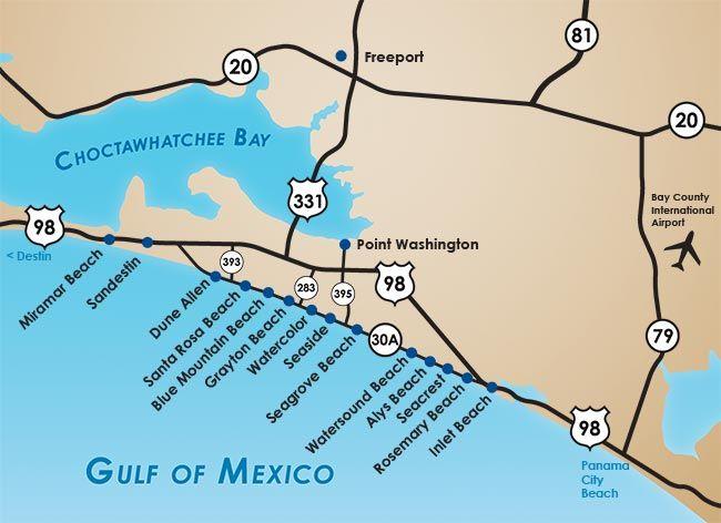 Map Grayton Beach Florida Santa Rosa Beach Florida 30a Florida