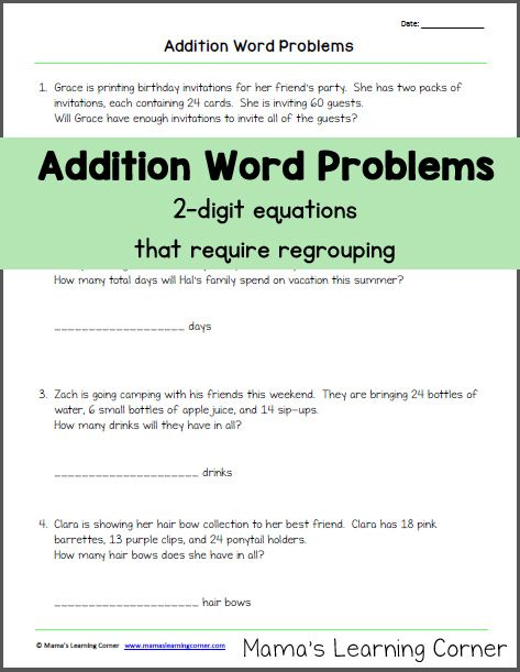 Addition Word Problems (with Regrouping) | Addition words ...