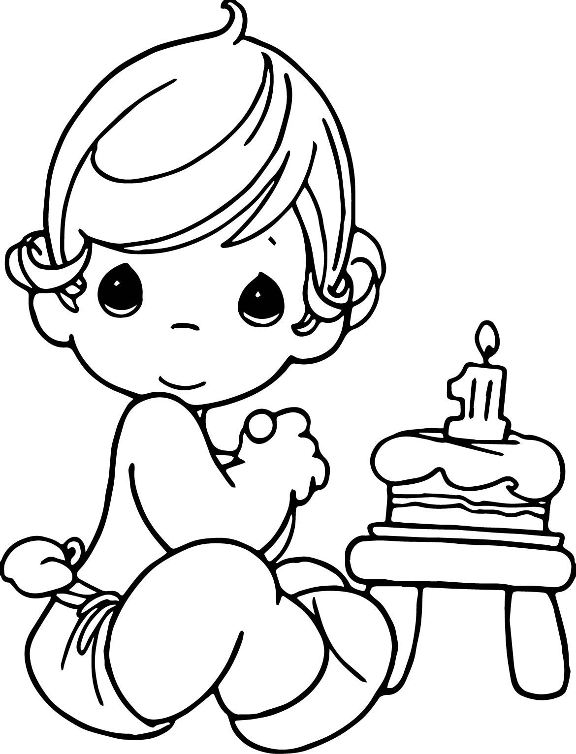 Precious moments birthday coloring page 2 precious for Coloring pages precious moments print