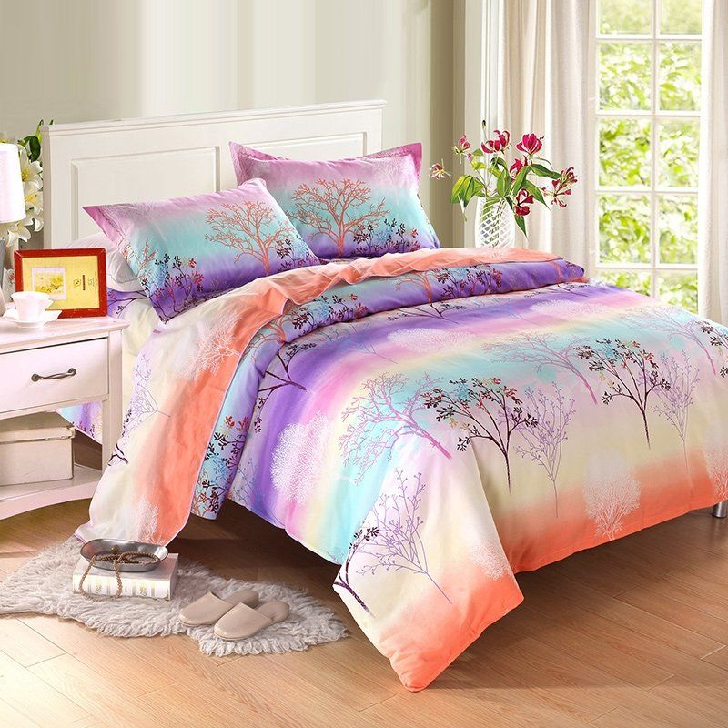 Bright Colored Tree Branch Print Ombre, Ombre Bedding Set Queen